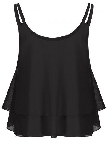 Fancy Layered Double Straps Chiffon Cami Top