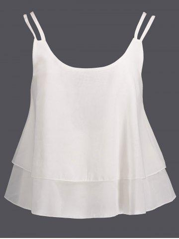 Fashion Layered Double Straps Chiffon Cami Top WHITE M