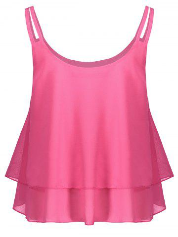 Chic Layered Double Straps Chiffon Cami Top PEACH RED M