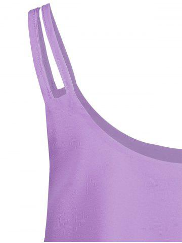 Online Layered Double Straps Chiffon Cami Top - LIGHT PURPLE L Mobile