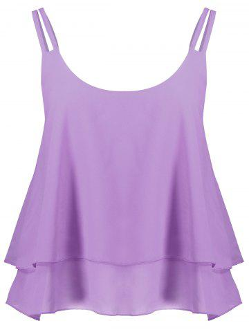 Sale Layered Double Straps Chiffon Cami Top - LIGHT PURPLE L Mobile