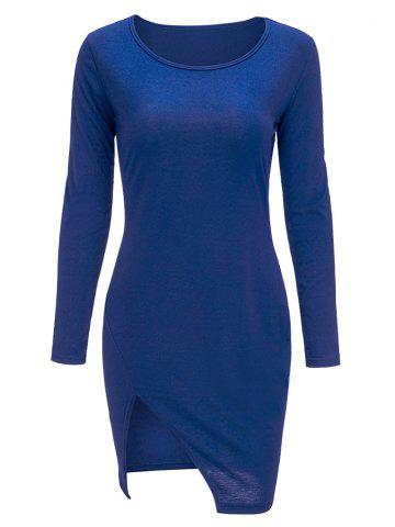 Bodycon manches Slit Mini Long T-Shirt Dress Bleu XL