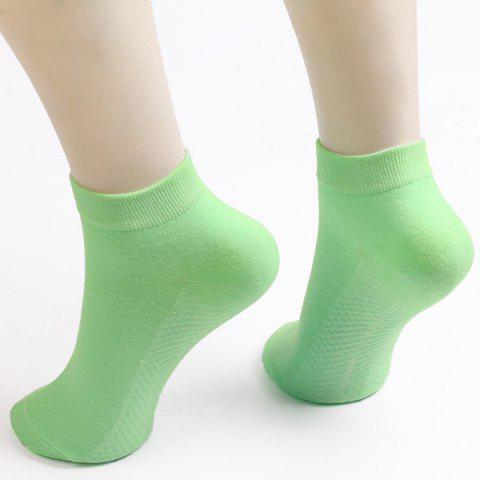 Soothing Massage Bottom Design Plain Short Ankle Socks - Light Green