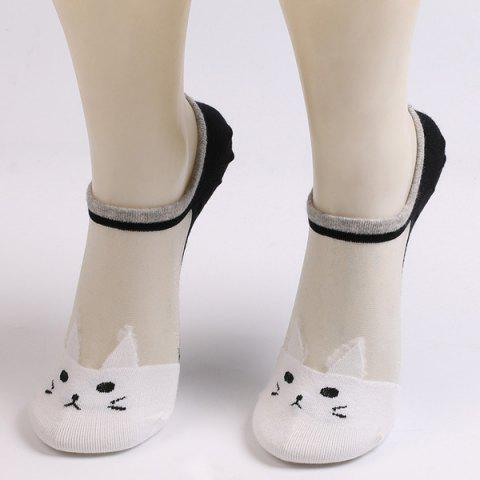 Shop Sheer Mesh Insert Short Knit Cat Socks