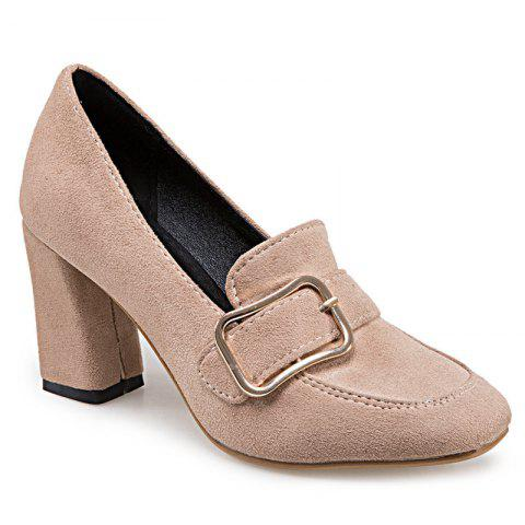 Outfit Block Heel Square Toe Pumps APRICOT 37