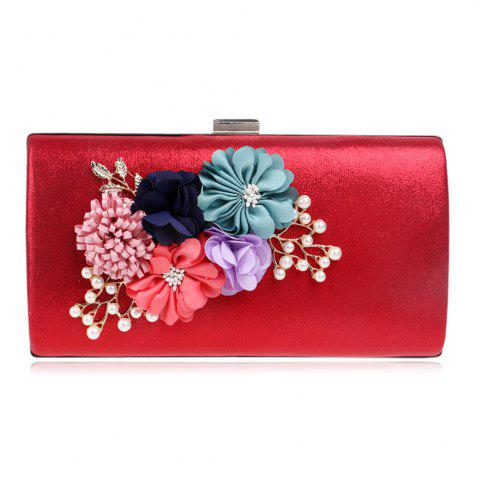 Unique Beaded Flowers Evening Clutch Bag - RED  Mobile