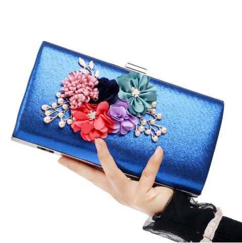 Unique Beaded Flowers Evening Clutch Bag ROYAL
