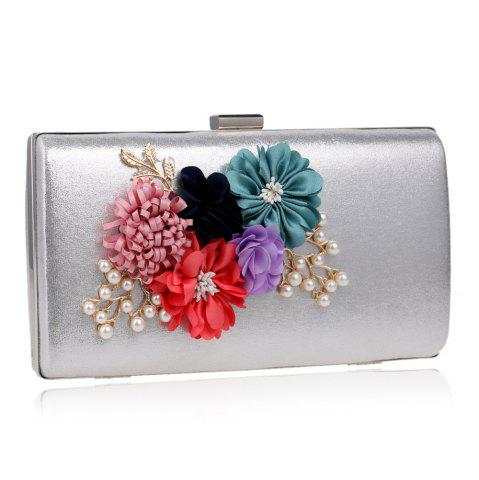 Chic Beaded Flowers Evening Clutch Bag - SILVER  Mobile