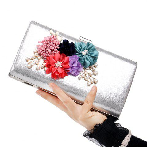 Shops Beaded Flowers Evening Clutch Bag - SILVER  Mobile