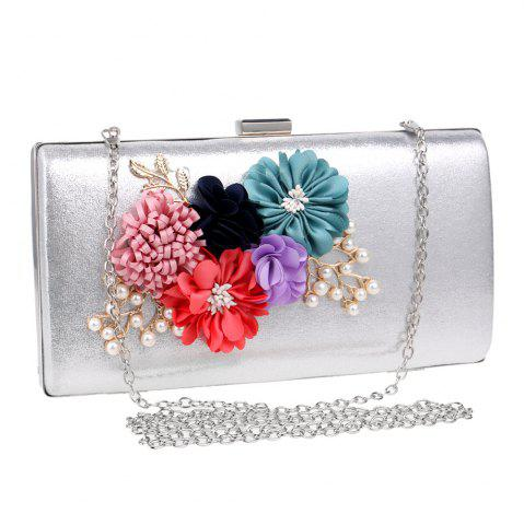 Latest Beaded Flowers Evening Clutch Bag - SILVER  Mobile