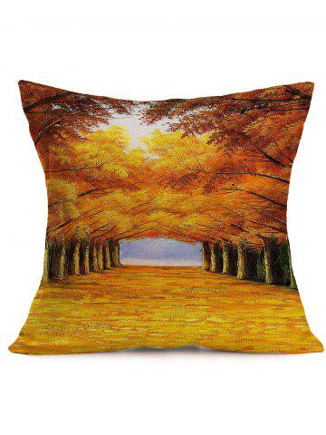 Outfit Autumn Trees Road Print Cotton Cloth Square Pillowcase - 43*43CM YELLOW ORANGE Mobile