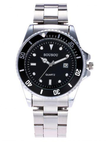 Latest SOUSOU Metallic Strap Analog Date Watch