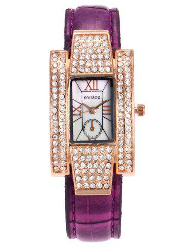 Trendy SOUSOU Faux Leather Rhinestone Rectangle Watch