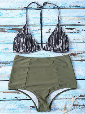 Discount Striped High Waist Bikini Suits COLORMIX M