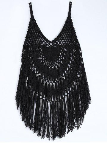 Spaghetti Strap Crochet Swimwear Cover-Up - Black - L