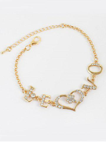 Rhinestone Letter Love Heart Chain Bracelet - Golden