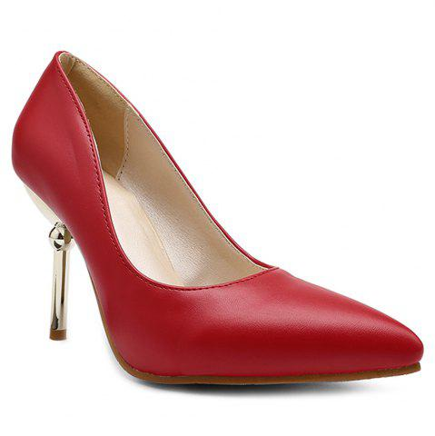 Buy Strange Style Pointed Toe Pumps - Red 39