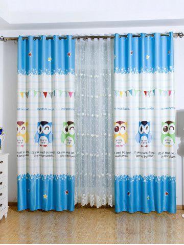 Window Screening Owl Print Blackout Curtain - Azure - 150*200cm