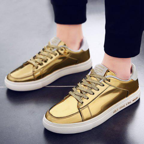 Shops Patent Leather Tie Up Casual Shoes GOLDEN 44