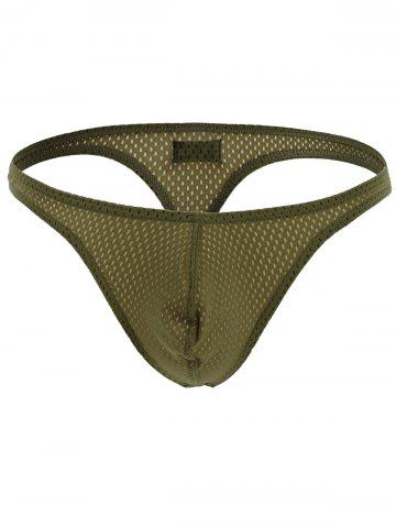 Affordable Holes Design Elastic Waist T Back - ARMY GREEN L Mobile