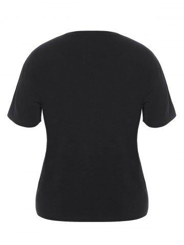 Affordable Plus Size Night Graphic T-Shirt - 5XL BLACK Mobile
