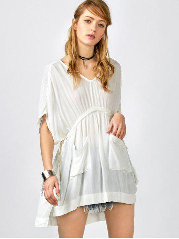 Sale Pockets Drawstring Kaftan Coverup Dress