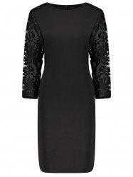 Plus Size Lace Insert Bodycon Sheath Dress -