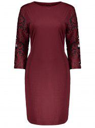 Plus Size Lace Insert Bodycon Dress