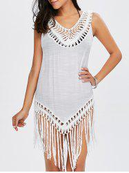 Longline Tassel Crochet Cover-Up - WHITE
