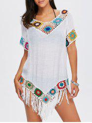 Flower Crochet Tassel Flowy Tunic Cover-Up - WHITE
