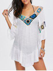 V Neck Flounce Floral Crochet Tunic Beach Cover-Up - WHITE
