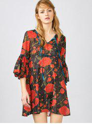 3/4 Sleeve Floral Smock Blouse - RED XS