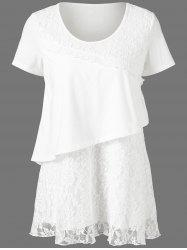 Floral Lace Trim Long Overlay T-Shirt