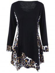 Long Sleeve Plus Size Leopard Trim Tunic T-Shirt - BLACK