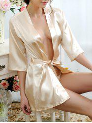 Satin Summer Pajamas Wrap Sleepwear - APRICOT