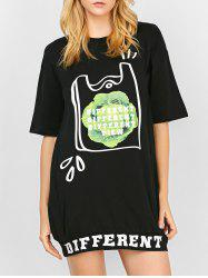 Loose Mini Letter Print T Shirt Dress With Sleeves