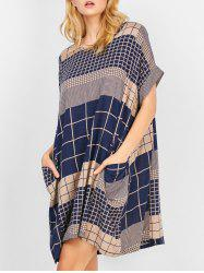 Checked Pocket Swing Dress - PURPLISH BLUE
