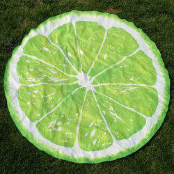 Lemon Slice Shape Polyster Round Beach Throw - LEMON GREEN
