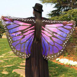 Butterfly Wing Chiffon Pashmina Scarf Cape with Straps - AMETHYST