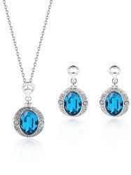 Faux Crystal Gem Rhinestone Round Jewelry Set