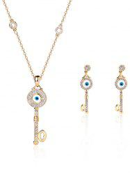 Key Rhinestone Evil Eye Jewelry Set