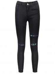 Sequin Embellished Skinny Leg Ripped Pencil Pants -