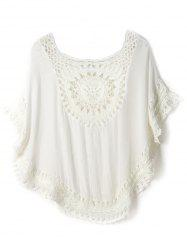 Openwork Crochet Cover-Up Short Kimono Swimwear