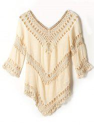V Neck Openwork Crochet Cover-Up