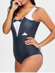 3D Print Backless Padded One Piece Swimwear