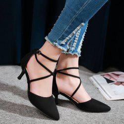 Cross Straps Suede Pumps - BLACK