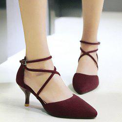 Cross Straps Suede Pumps - WINE RED