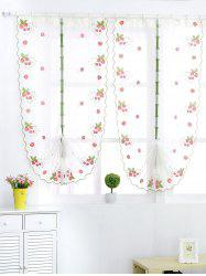 Roman Strawberry Embroidery Sheer Tulle Window Curtain - WHITE