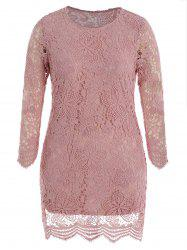 Plus Size Long Sleeves Lace Bodycon Dress