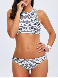 Wave Pattern High Neck 2 Piece Swimsuit -